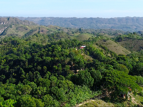 Panorama of forested hills in the Dominican Republic