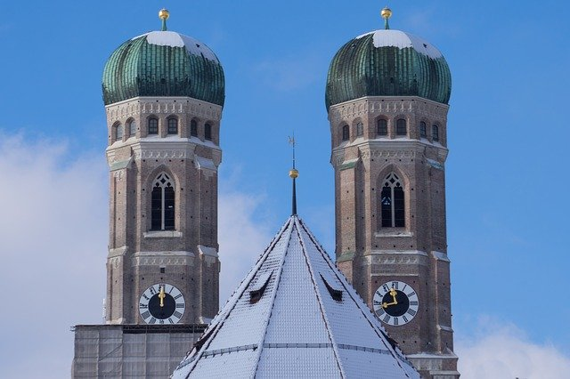 Twin towers of Frauenkirche in Munich, snow covered