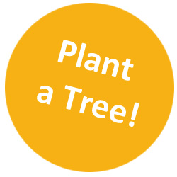 Orange circular button with text: plant a tree