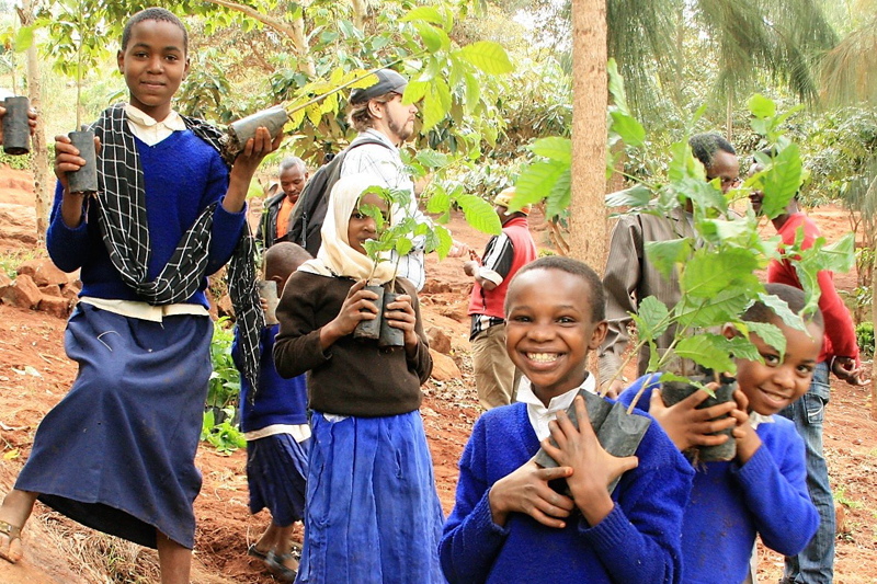 African children on tree farm holding tress in their hands