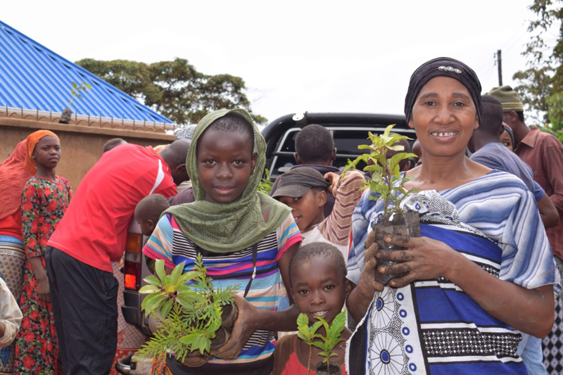 African woman with two children, holding tree seedlings in their hands