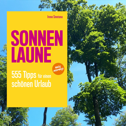 book cover SONNENLAUNE in front of tree